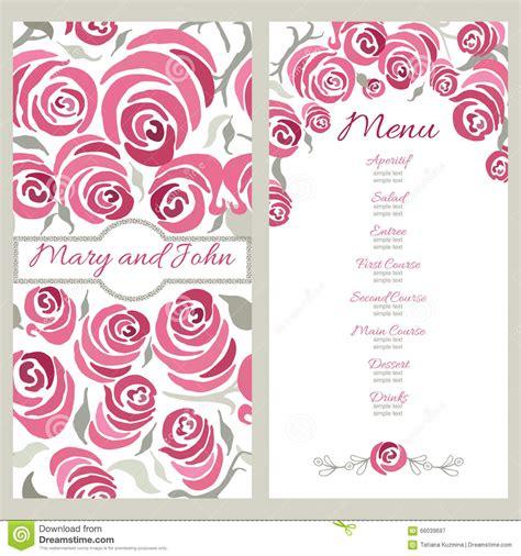 decorative card design wedding menu design with hand painted roses decorative