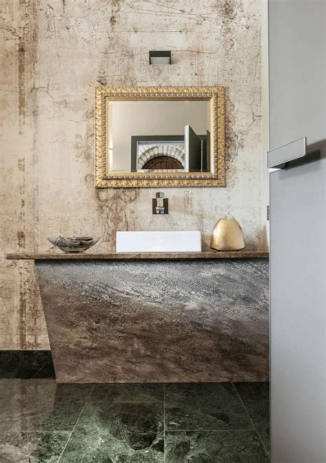 vintage bathroom wallpaper rustic and industrial italian home with touches of rough