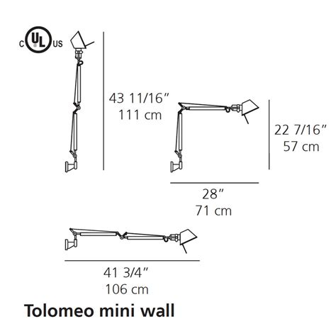 artemide tolomeo wall l artemide tolomeo mini led wall l with arms stardust