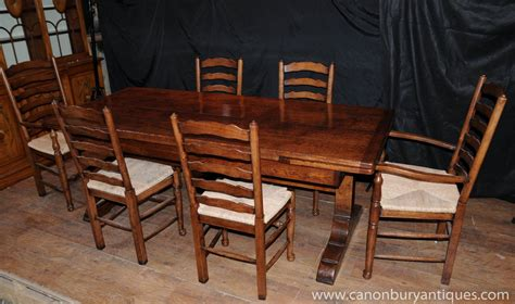 Farmhouse Dining Table Set with Farmhouse Kitchen Dining Set Refectory Table Set Ladderback Chairs Ebay