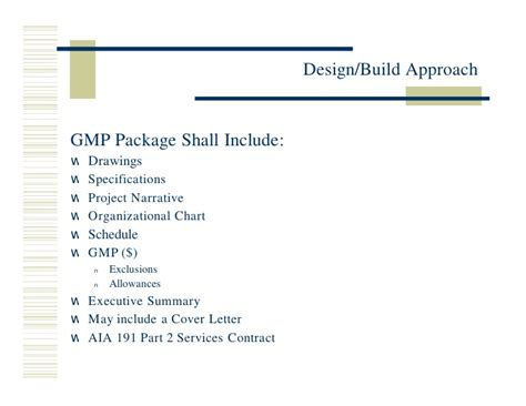 design build contract with gmp miros design build approach 3 20 02
