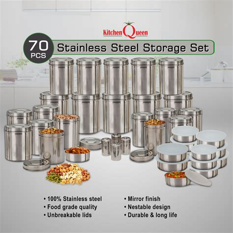 steel queen kitchen buy kitchen queen 70 pcs stainless steel storage set