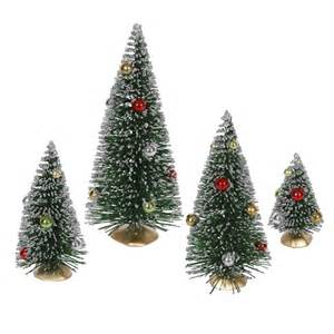 set 4 decorated artificial mini village christmas trees ebay