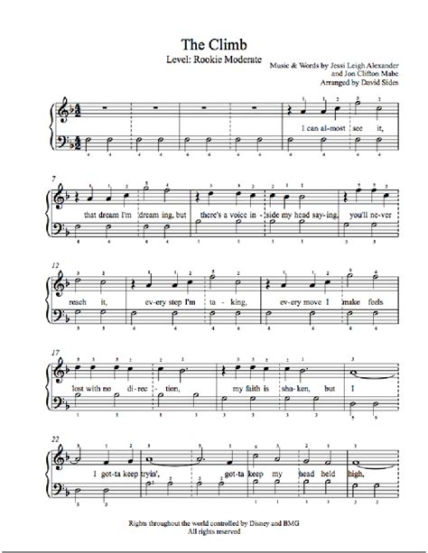 tutorial piano miley cyrus the climb by miley cyrus piano sheet music rookie level