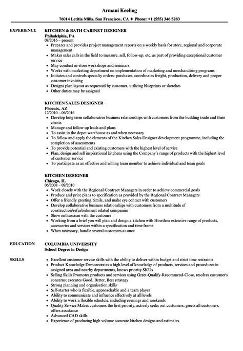 kitchen designer resume