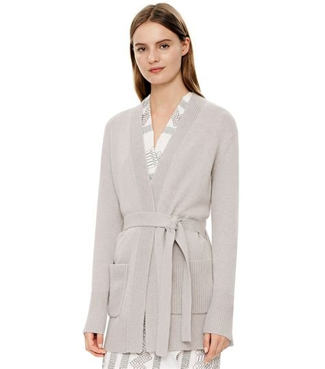 cotton drape cardigan tory burch cotton cashmere drape front cardigan in gray lyst