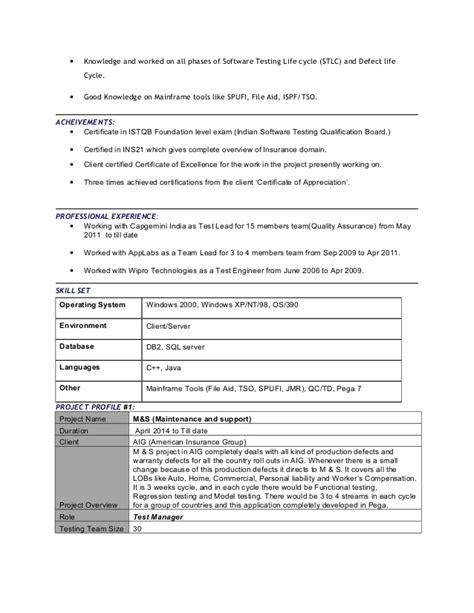 mainframe etl experienced team lead  insurance domain