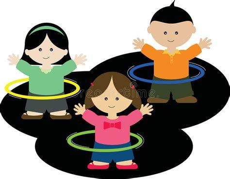clipart bambini che giocano bambini che giocano i cerchi di hula illustrazione di