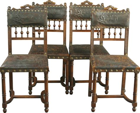 Antique Dining Chair Styles Set 4 Antique Renaissance Style Dining Chairs Embossed Leather Walnut Ebay