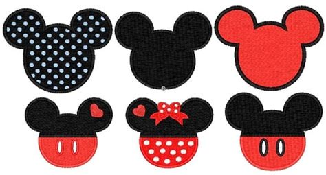 Small Home Design Books by Mickey Minnie Mouse Ears Head 6 Embroidery Patterns