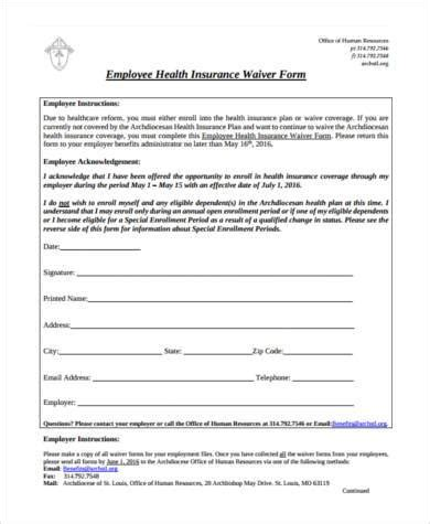 Sle Insurance Waiver Forms 8 Free Documents In Word Pdf Insurance Waiver Template