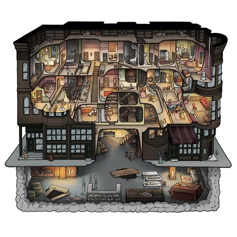 h h h h holmes murder castle cutaway illustration 12x12 and