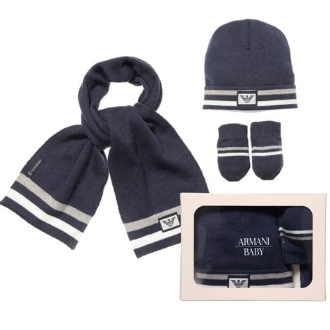 armani baby blue knitted baby hat scarf and mittens set