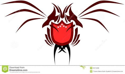 two headed dragon with shield isolated stock vector