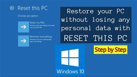 reset pc online windows 10 how to reset pc with keep my files and safe