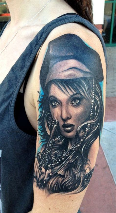 pirate girl tattoo 25 trending portrait tattoos ideas on