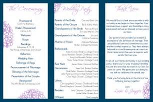 wedding programs templates free wedding program trifold tale wedding