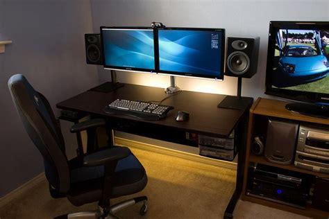 Desk For Dual Monitor Setup Diy Pc Desk Mods Neat Dual Dell Monitor Pc Desk Setup