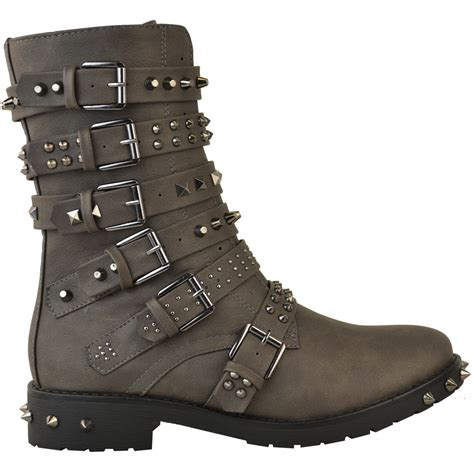 womens ankle biker boots womens ladies studded ankle boots buckle western biker