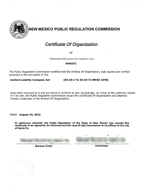 certificate of organization template states archive page 5 of 80 incparadise