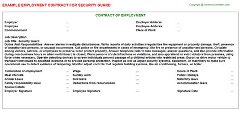 Contract Letter Format For Security Guard Security Guard Employment Contracts