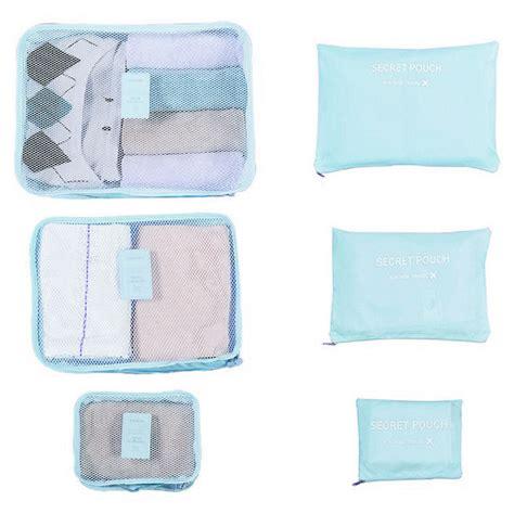 tas travel bag in bag organizer barang 6 set blue
