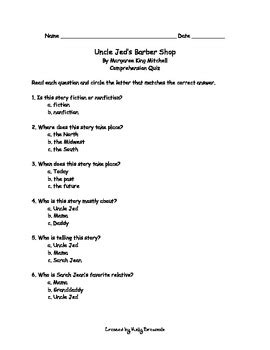 Uncle Jed's Barbershop Comprehension by Kelly Breazeale | TpT