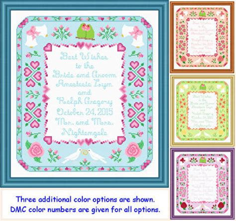 Wedding Announcement Cross Stitch Patterns by Wedding Announcement 14x16 Cross Stitch Pattern Wedding