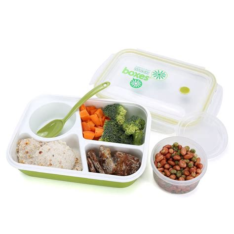 Lunch Box 1 bento lunch box 3 compartment with spoon silicone