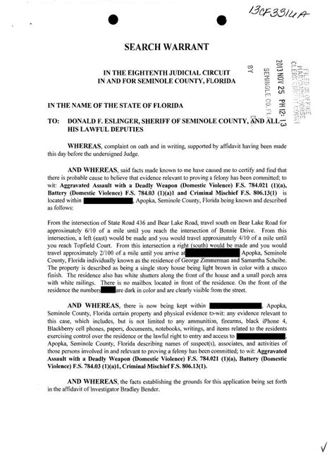 Search Warrants In Florida Search Warrant Affidavit In George Zimmerman