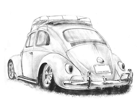 vintage cars drawings drawing pencil vw beetle cal look sketch pad pinterest