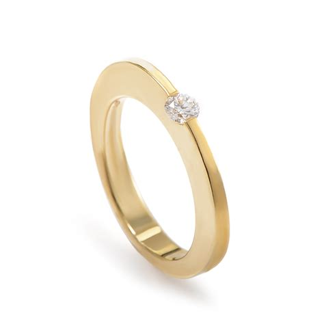 roberto coin 18k yellow gold engagement ring