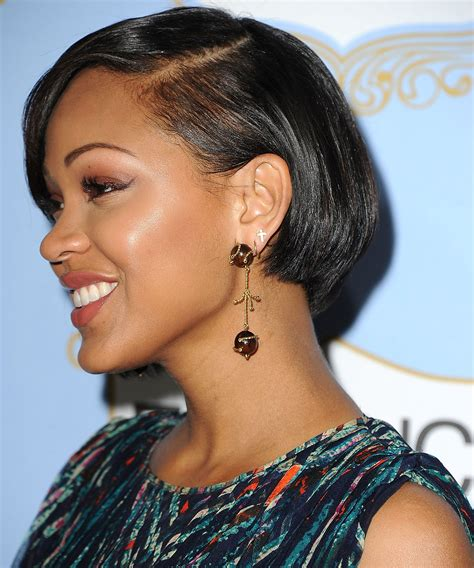 meagan good inspired hairstyle on short natural hair megan good star of deception wears sazingg in hollywood