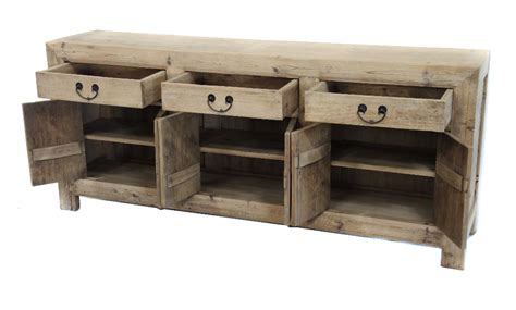 natural reclaimed wood media console cabinet sideboard