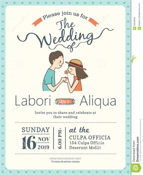 Wedding Invitation Card Template With Cute Groom And Bride Stock Illustration Illustration Wedding Invitation Templates With Pictures