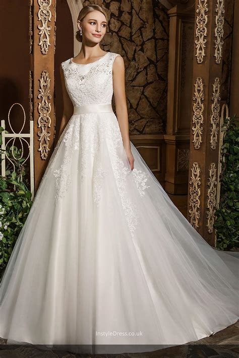Wedding Dresses Aline Uk by Princess Style Beaded Appliqued Scoop Neck Modest Bridal