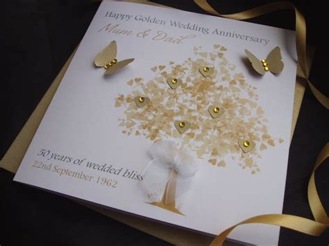 Wedding Anniversary Ecards by Personalised Handmade Golden Wedding Anniversary Cardspink