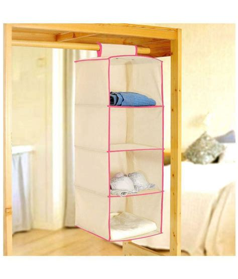 Closet Organizer India Pindia Fancy And Foldable Beige Non Woven 4 Layer Hanging