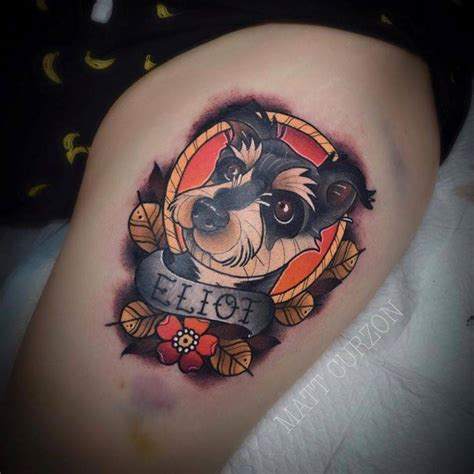 neotraditional dog portrait and banner tattoo