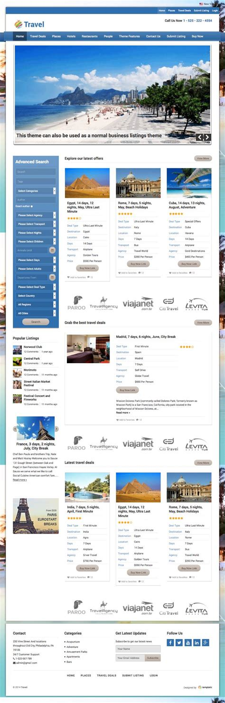 travel portal templates travel directory listings portal theme