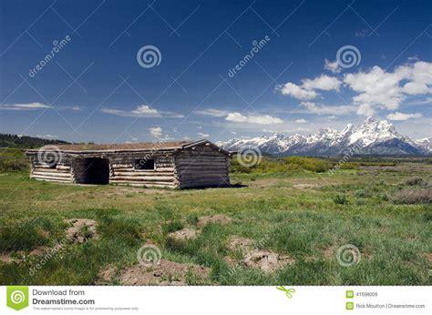 grand teton national park historic cabins stock photo