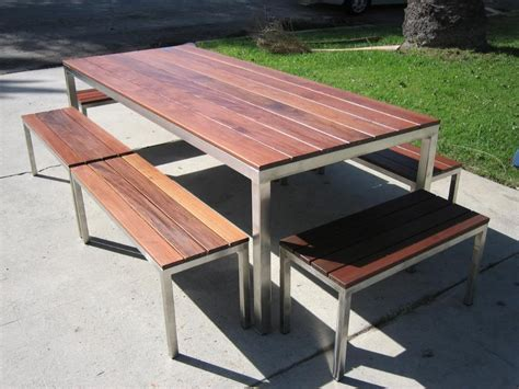 Stainless Steel And Wood Outdoor Furniture by Stainless Steel Outdoor Table With Ipe Wood Top 6 Benches