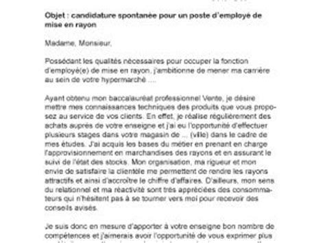 Lettre De Motivation De Auchan Lettre De Motivation Employ 233 De Mise En Rayon Par Lettreutile