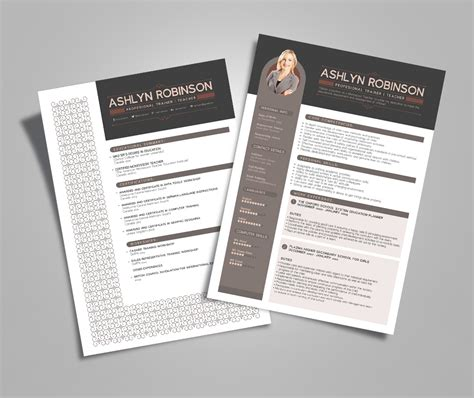 presentable resume free resume cv design template for trainers teachers resume template