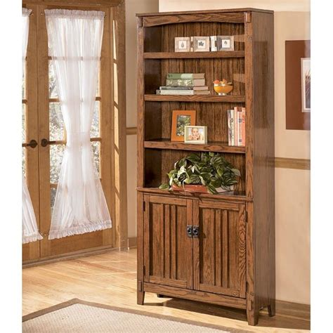 cross island desk w storage cross island large door bookcase signature design 2