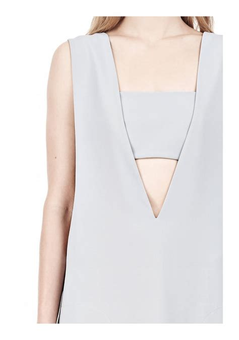 V Neck Low Poly wang poly crepe low v neck dress with bandeau