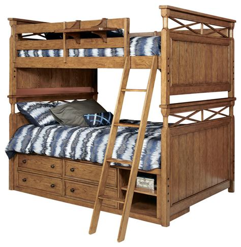 Lea Americana Bunk Bed With Captain Bed Box In Khaki Oak Bunk Bed Box