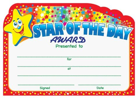 printable star of the day certificates star of the day award certificate school merit stickers