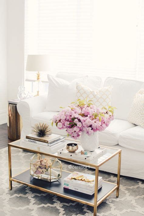 Chic White Sofa Living Room With Gold Coffee Table And Gold Coffee Tables Living Room