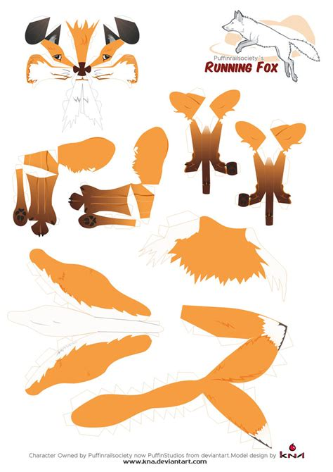 paper craft patterns brown fox papercraft pattern by kna on deviantart